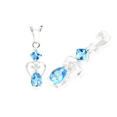 Princess Pear Cut Swiss Blue Topaz Pendant in Sterling Silver