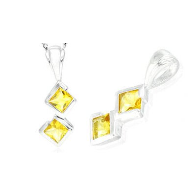 Princess Cut Citrine Pendant in Sterling Silver
