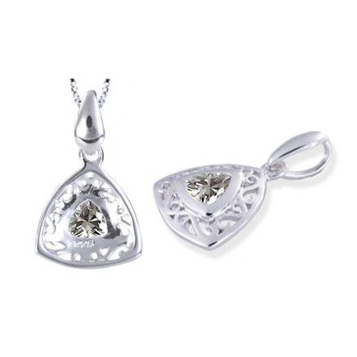 Trillion Cut White Cz Filigree Pendant in Sterling Silver