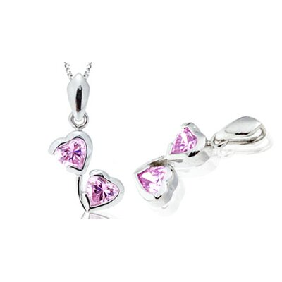 Heart Shape Pink CZ Pendant in Sterling Silver