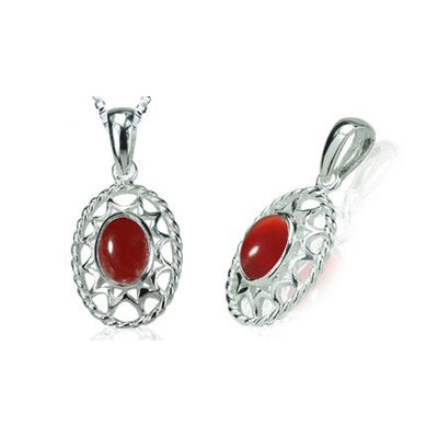 Oravo Oval Cut Carnelian Bead Pendant in Sterling Silver
