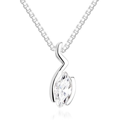 Oravo Marquise Cut White CZ Pendant Necklace in Sterling Silver