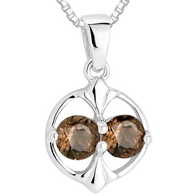 Oravo Round Cut Smoky Quartz Pendant Necklace in Sterling Silver