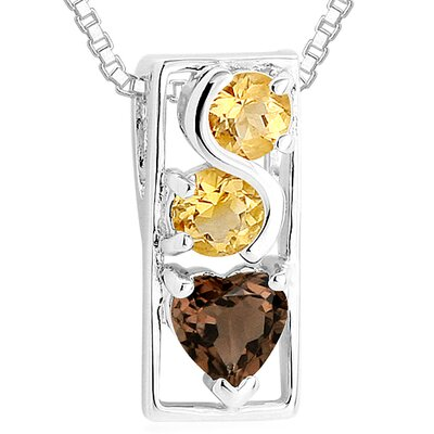 Oravo Round Citrine Heart Smoky Quartz Pendant Necklace in Sterling Silver