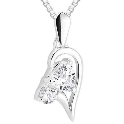 Oravo Heart & Round Cut White CZ Pendant Necklace in Sterling Silver