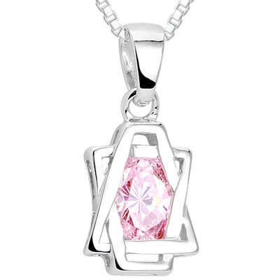 Oval Cut Pink CZ Pendant Necklace in Sterling Silver