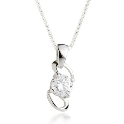 Oravo Round Cut White CZ Pendant Necklace in Sterling Silver