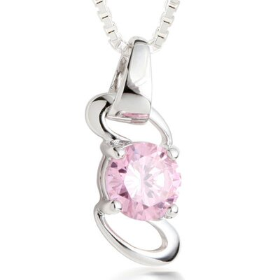 Round Cut Pink CZ Pendant Necklace in Sterling Silver
