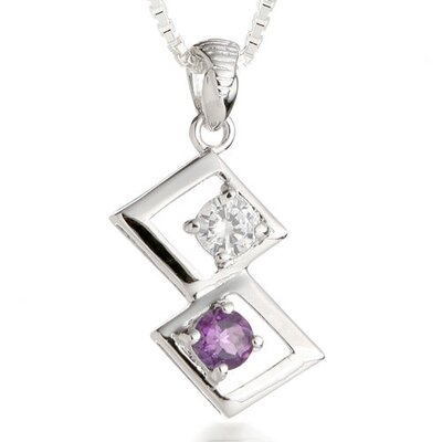Round Cut Amethyst & White CZ Pendant Necklace in Sterling Silver