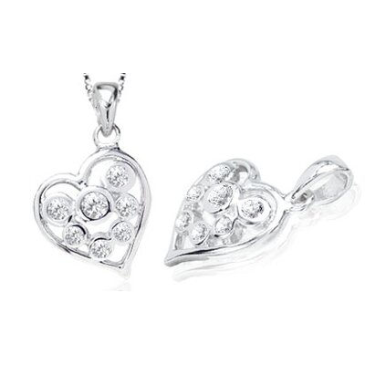 Round Cut White CZ Multistone Heart Pendant in Sterling Silver