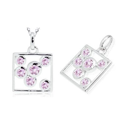 Round Cut Pink CZ Box Pendant in Sterling Silver