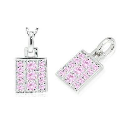 Multirow Pink CZ Pendant in Sterling Silver