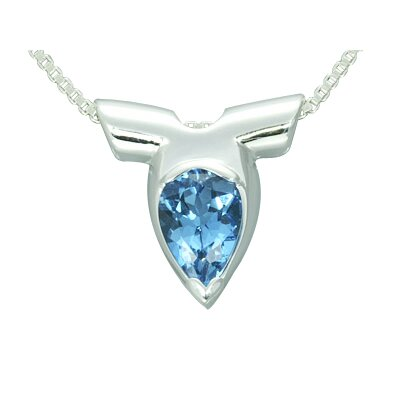 Oravo 1.50 Carat Pear Shape Genuine London Blue Topaz Pendant Necklace in Sterling Silver