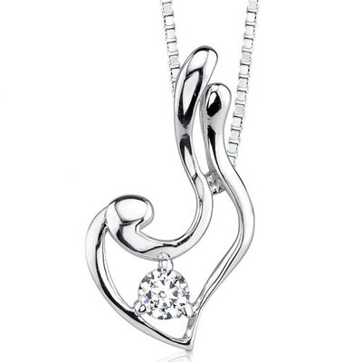 Solitaire Rhapsody Bridal Style Heart-shape Solitaire Cubic Zirconia Necklace in Sterling Silver