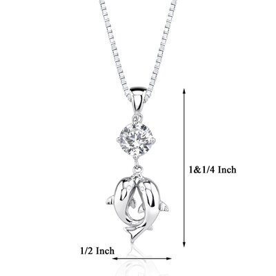 Oravo True Love Celebrity Style Double Dolphin Solitaire Cubic Zirconia Pendant Necklace in Sterling Silver