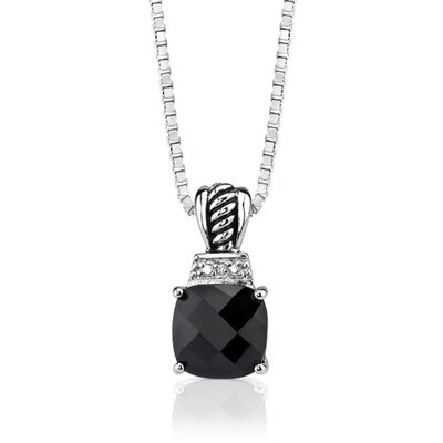 Oravo Regal Beauty Pendant Necklace with Cushion-cut Black Onyx and Cubic Zirconia in Sterling Silver