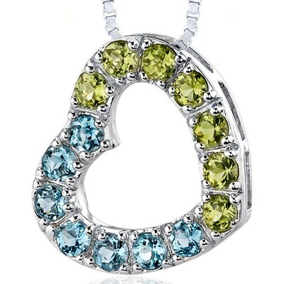 1.75 Carats Total Weight Round Shape Swiss Blue Topaz and Peridot Open Heart Pendant Necklace ...