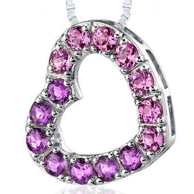 2.00 Carats Total Weight Round Shape Amethyst and Pink Sapphire Open Heart Pendant Necklace in ...