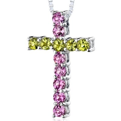 Oravo 1.75 Carats Total Weight Round Shape Pink Sapphire and Peridot Cross Pendant Necklace in Sterling Silver