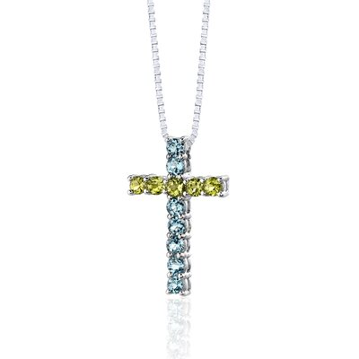 Oravo 1.50 Carats Total Weight Round Shape Swiss Blue Topaz and Peridot Cross Pendant Necklace in Sterling Silver