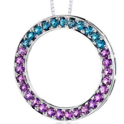 Oravo 3.50 Carats Total Weight Round Shape Amethyst and London Blue Topaz Circle of Life Pendant Necklace