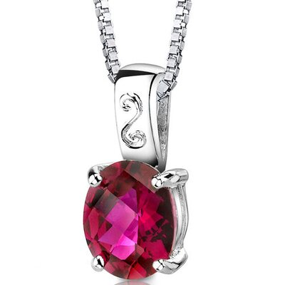 Oravo Spring Dream Oval Shape Checkerboard Cut Ruby Pendant in Sterling Silver