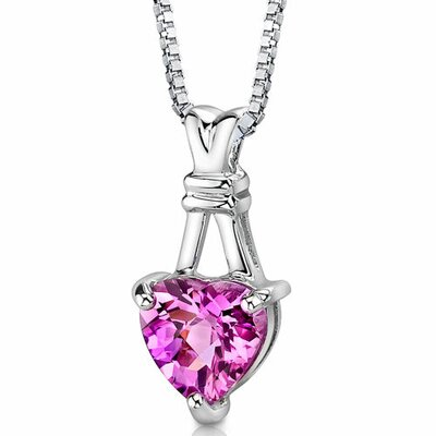Oravo Passionate Pledge Heart Shape Checkerboard Cut Pink Sapphire Pendant in Sterling Silver