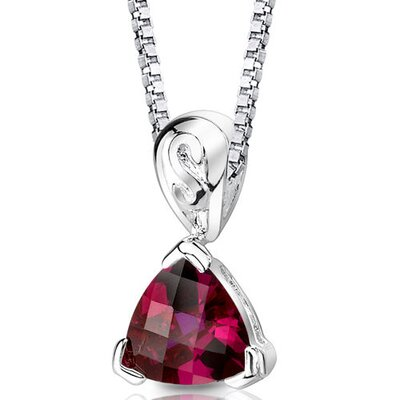 Oravo Sweet Elegance Trillion Checkerboard Cut Ruby Pendant in Sterling Silver