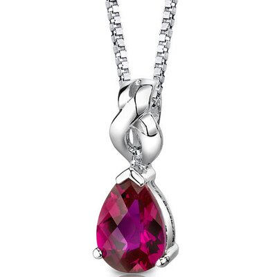 Oravo Mysterious Allure Pear Shape Checkerboard Cut Ruby Pendant in Sterling Silver
