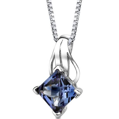 Sensational Glamour Princess Checkerboard Cut Alexandrite Pendant in Sterling Silver