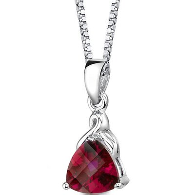 Oravo Sensual Splendor Trillion Checkerboard Cut Ruby Pendant in Sterling Silver
