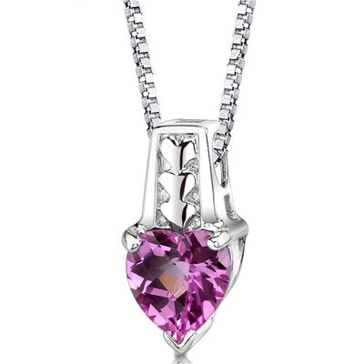 Cherished Forever Heart Shape Checkerboard Cut Pink Sapphire Pendant in Sterling Silver