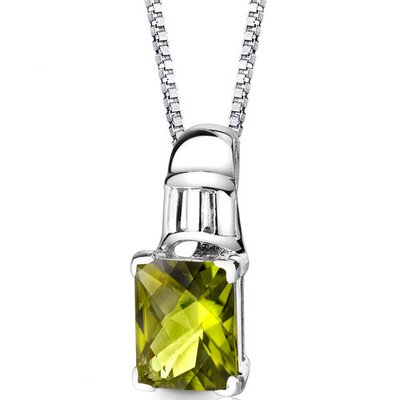 Ravishing Beauty 3.25 Carats Radiant Checkerboard Cut Peridot Pendant in Sterling Silver