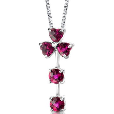 Floral Passion Multishape Checkerboard Cut Ruby Pendant in Sterling Silver