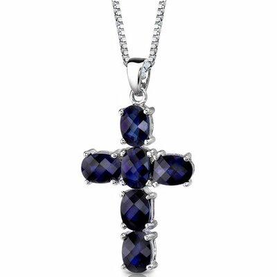 Radiant Glory Oval Shape Checkerboard Cut Blue Sapphire Cross Pendant in Sterling Silver