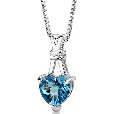 Passionate Pledge 3.00 Carats Heart Shape Swiss Blue Topaz Pendant in Sterling Silver