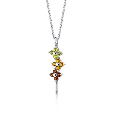Oravo Flower Power 1.50 Carats Round Shape Multicolor Pendant in Sterling Silver