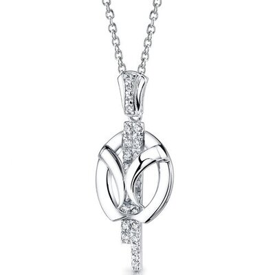 Forever Elegant Slider Pendant Necklace with Cubic Zirconia in Sterling Silver