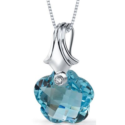 Oravo Blooming Flower Cut 15.00 Carats Sky Blue Topaz Pendant Necklace in Sterling Silver