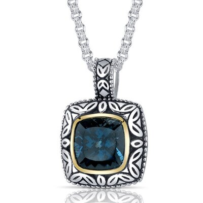 Cushion Cut 5.00 Carats London Blue Topaz Antique Style Pendant in Sterling Silver