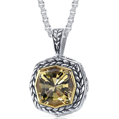 Octagon Cut 6.00 Carats Champagne Citrine Antique Style Pendant in Sterling Silver