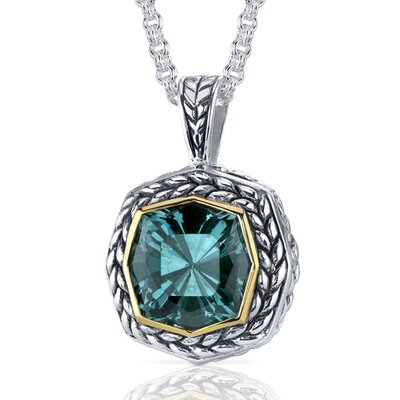 Octagon Cut 8.50 Carats Green Spinel Antique Style Pendant in Sterling Silver