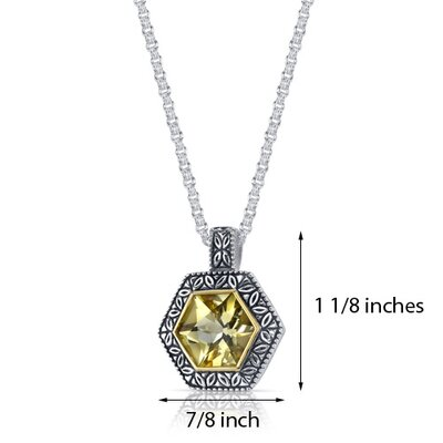 Oravo Hexagon Cut 6.00 Carats Champagne Citrine Antique Style Pendant in Sterling Silver