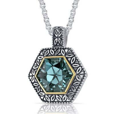 Hexagon Cut 8.25 Carats Green Spinel Antique Style Pendant in Sterling Silver