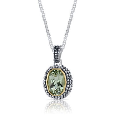 Oravo Barrel Cut 5.00 Carats Green Amethyst Antique Style Pendant in Sterling Silver
