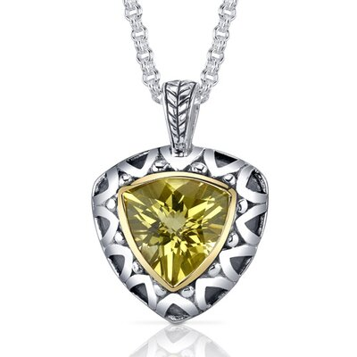Oravo Trillion Checkerboard Cut 5.00 Carats Champagne Citrine Antique Style Pendant in Sterling Silver