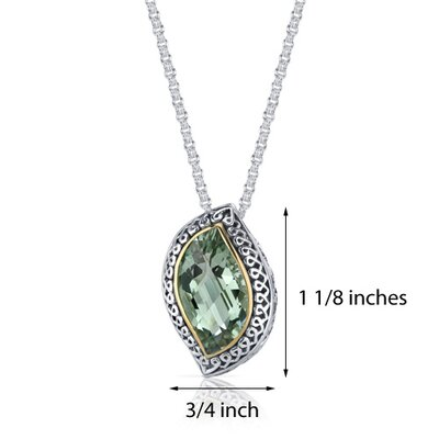 Oravo Leaf Cut 8.00 Carats Green Amethyst Ribbon Motif Pendant in Sterling Silver