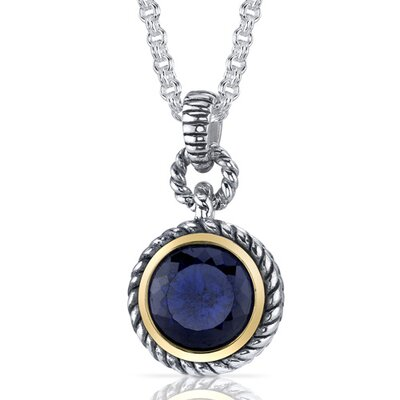 Oravo Portuguese Cut 5.00 Carats Blue Sapphire Twisted Cable Pendant in Sterling Silver