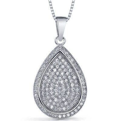 Oravo Sea of Sparkle Micro Pave Cubic Zirconia Flat Tear Drop Pendant in Sterling Silver