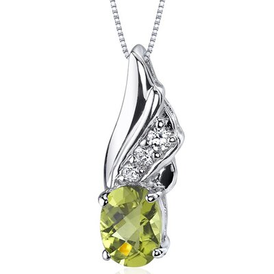 Graceful Angel 1.25 Carats Oval Shape Peridot Pendant in Sterling Silver